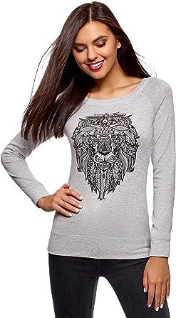 oodji Ultra Femme Sweat-Shirt Imprim/é /à Col Rond