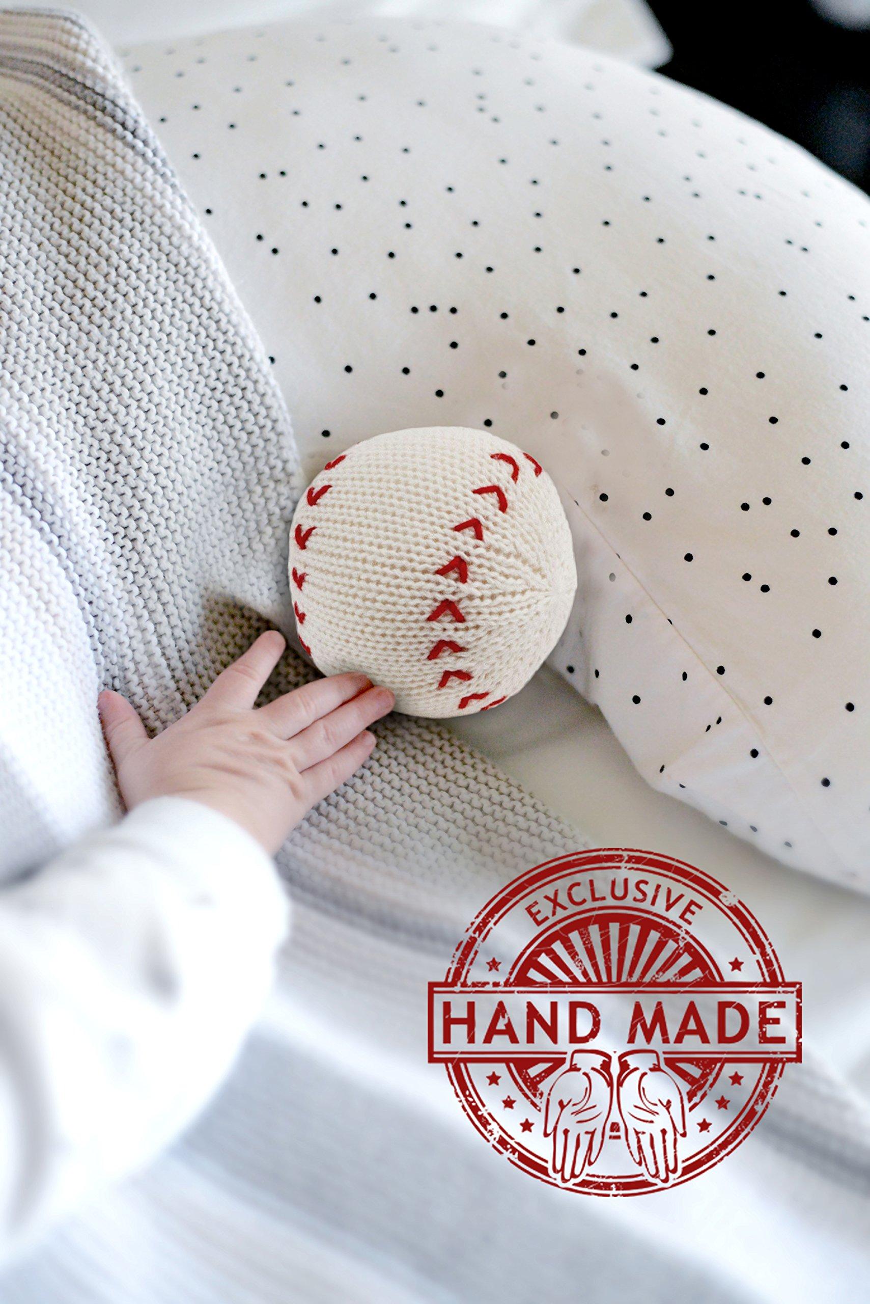 Estella Hand Knit Soft Organic Cotton Baby Rattle Toy, Baseball