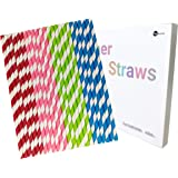 Parxara Straws Paper Eco-Friendly 100Pcs Drinking Decorations Party Birthday Wedding Baby Shower Valentine in 4 Mix Color Striped (Rainbow)