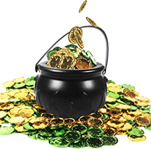 St. Patrick's Day Candy Cauldron Kettles with 200 Pcs Plastic Shamrock Coins, 1 Pcs Plastic Cauldrons Candy Kettle, Black Witch Cauldron Candy Holder Pot with Handle, for St Patrick's Day Party Favors