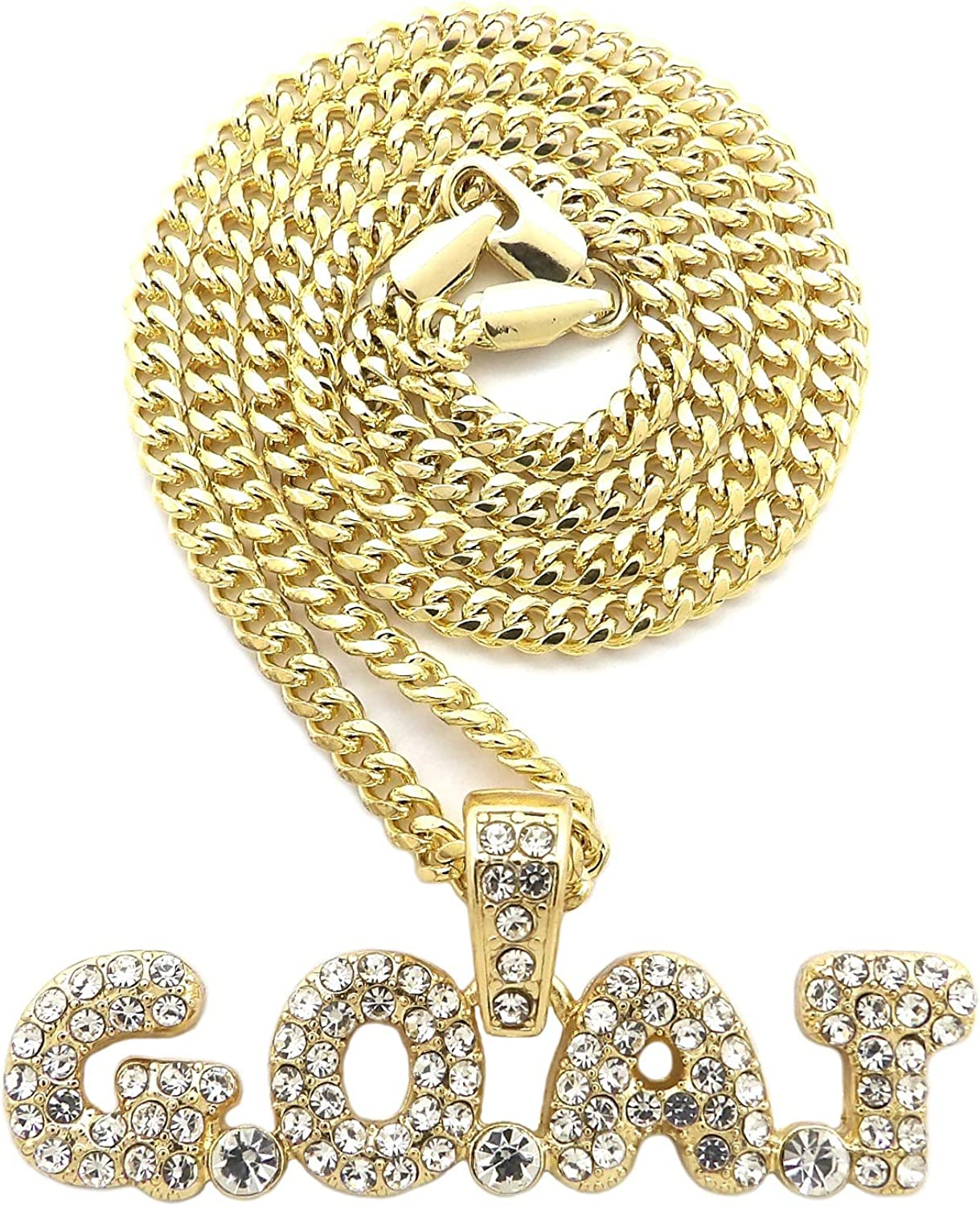 Fashion 21 Hip Hop G.O.A.T Pendant 20, 24 inches Various Chain Necklace in Gold, Silver Tone