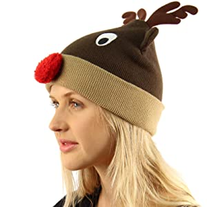 Christmas Rudolph Red Pom Pom Nose Reindeer Soft Thick Knit Cap Beanie Hat Brown