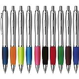 OTWIS Cardiff Kunststoff Kugelschreiber-Set 10-Stück ergonomischer Griff bunte 10er Packung Farbenmix bunt: Schwarz Grün Blau Rot Orange Pink Lime Hellblau Dunkelblau Hellblau Bordeauxrot, Farbe:farbig sortiert
