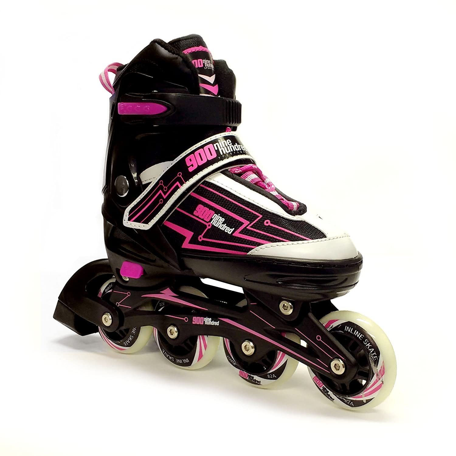 Nine Hundred Adjustable Rollerblades for Kids//Women//Men//Adult//Boys//Girls-Inline Roller Skate-Black//Pink or Black//Green.Fitness Performance Inline Blades Skates.