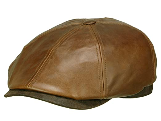 3fd20659734 Amazon.com  Stetson Brooklin Leather Flat Cap Men Brown 6 3 4-6 7 8 ...