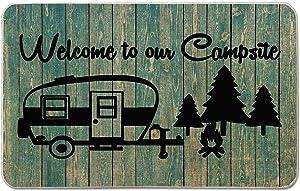 Welcome to Our Campsite Camper Door Mat Farmhouse Decorative Camping Doormat Durable Burlap Camper Rug