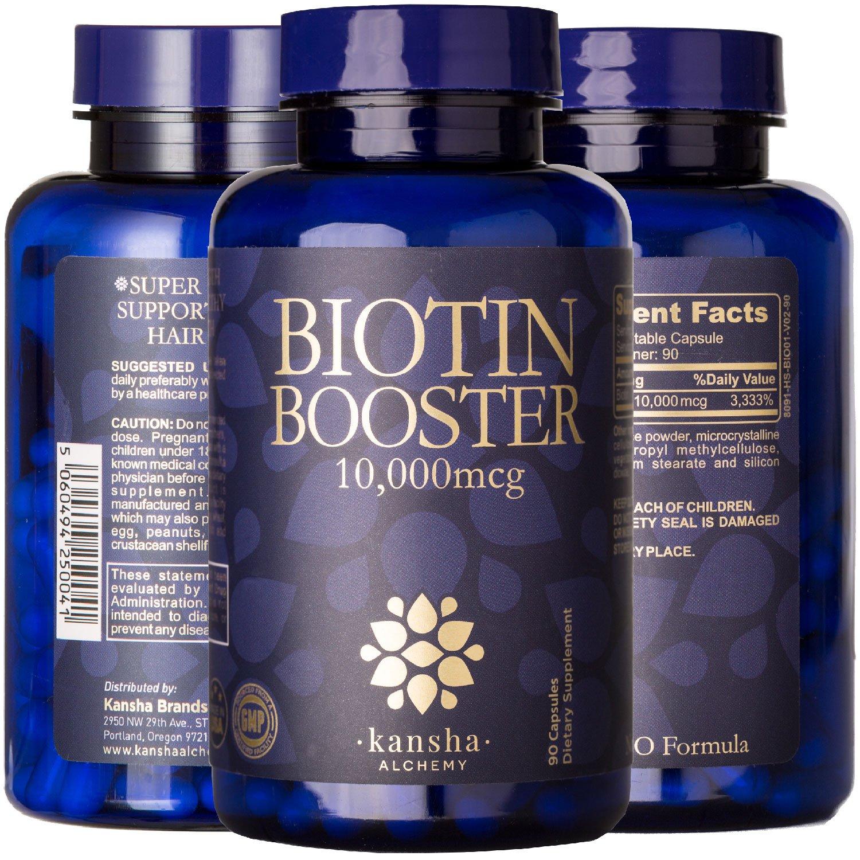 Biotin (High Potency) 10,000 mcg, Prevents Hair Loss in Men and Women, 90 Vegan Capsules (3-Month Supply) Kansha Brands Ltd
