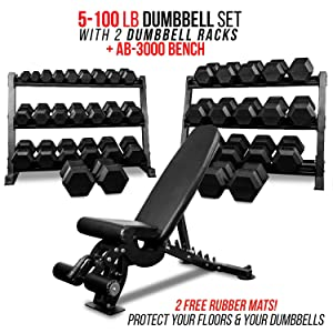Rep 5-100 lb Rubber Hex Dumbbell Set with (2) 3-Tier Dumbbell Rack and Adjustable Bench AB-3000