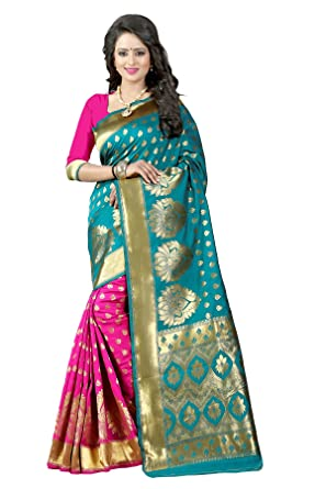 01326f6190 The Fashion Outlets Banarasi Silk Saree with Blouse Piece  (PARI1_RAMAPINK_Pink_Free Size)