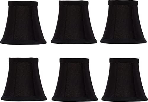 Upgradelights Set of 6 Chandelier Lamp Shades English Barrel 4 Inch Black Silk with Gold Lining 2.5x4x3.75