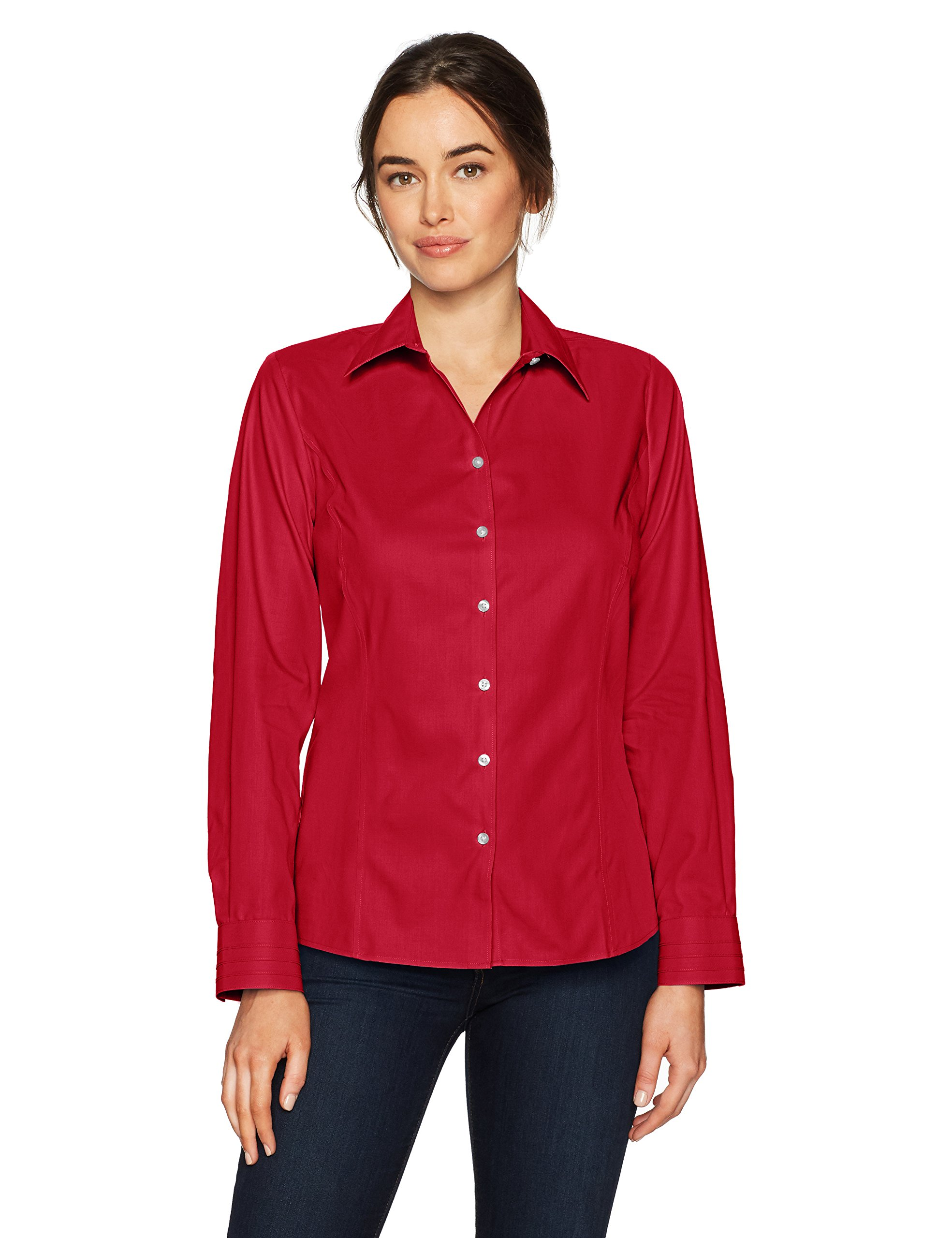 Cutter & Buck Women's Epic Easy Care Long Sleeve Fine Twill Collared Shirt, Cardinal Red, M