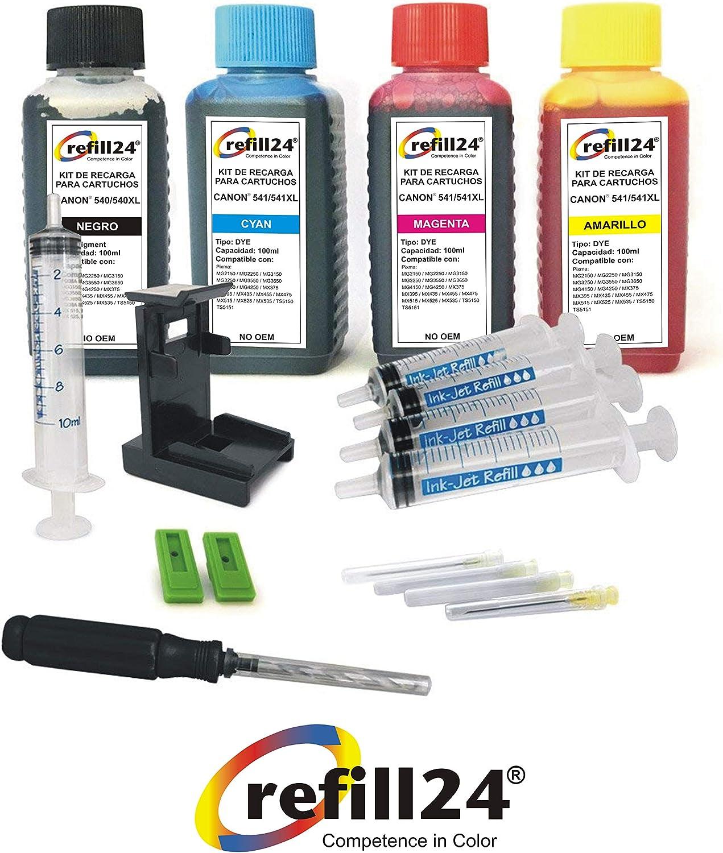 Kit de Recarga para Cartuchos de Tinta Canon 540, 541, 540 XL, 541 XL Negro y Color, Incluye Clip y Accesorios + 400 ML Tinta: Amazon.es: Electrónica