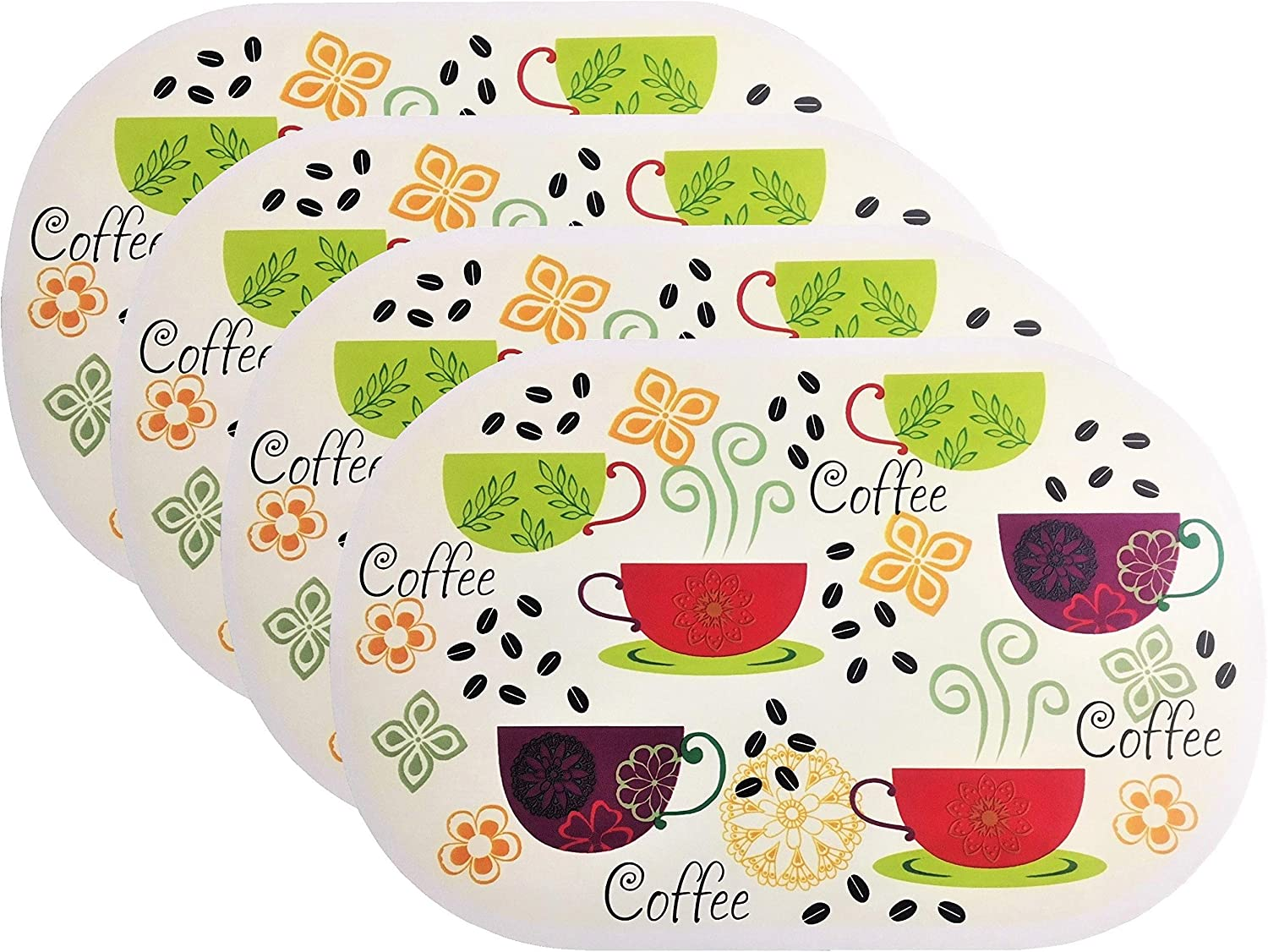 4 Pack Deluxe Vinyl Placemat Set Latest Decoration Patterns Non-Slip Foam Ease Wipes Clean (Coffee Time)