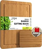Large Bamboo Cutting Board with Deep Groove and Convenient Grips for Lifting. Extra Bonus Small Multifunctional Cutting Board Included. Anti-Bacterial, Lightweight, Durable Chopping and Serving Board