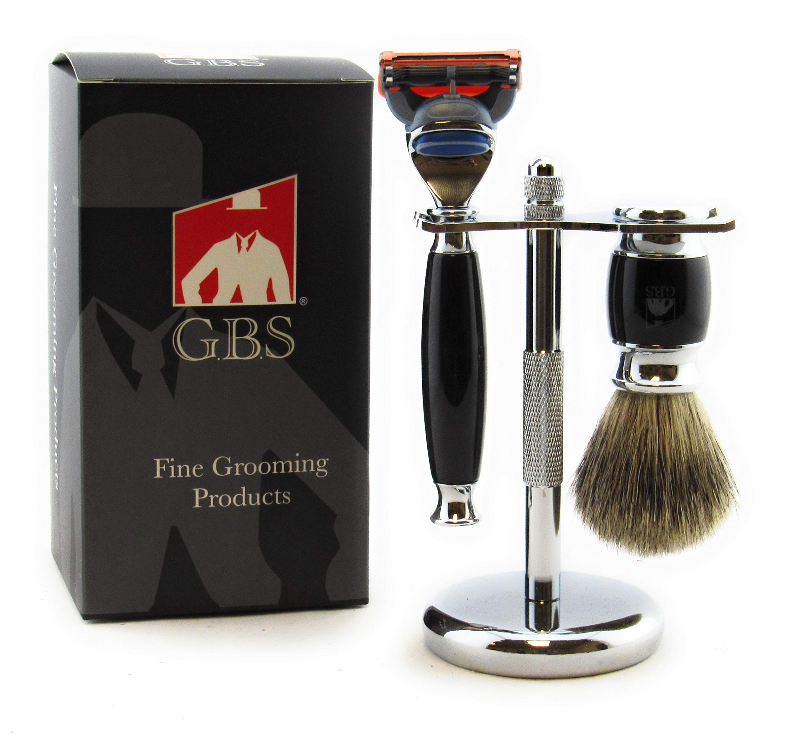 GBS Premium Shaving Gift Set - Black Handle 5 Blade Razor, Pure Badger Bristle Brush and Chrome Stand - Ultimate Wet Shaving and Perfect to Groom Beard Includes 1 blade
