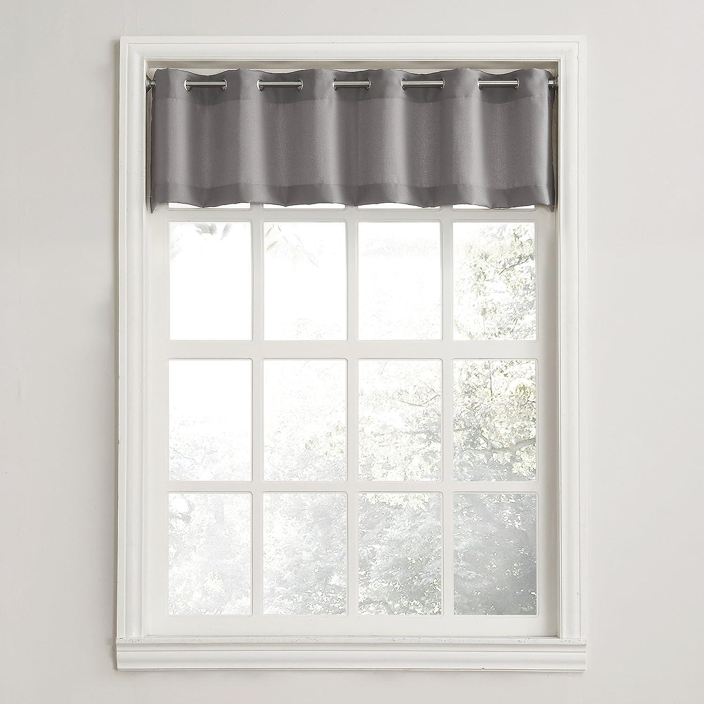 """No. 918 Montego Grommet Textured Kitchen Curtain Valance, 56"""" x 14"""", Nickel Gray"""