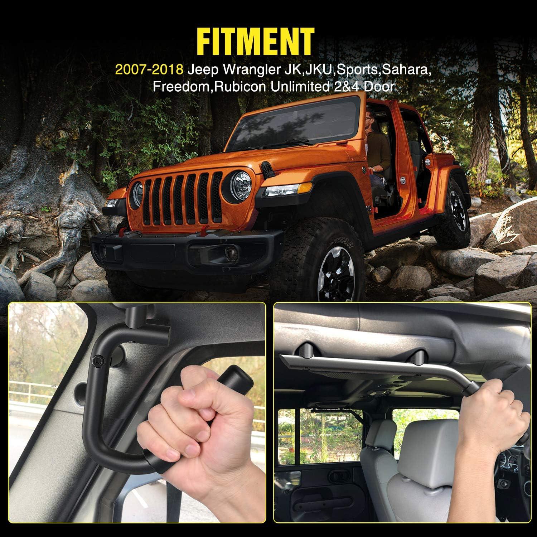 Nilight Front /& Rear Grab Handles Metal Roll Bar Grip Handles for 2007-2018 Wrangler JK JKU Sports Sahara Freedom Rubicon X /& Unlimited