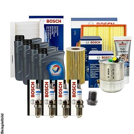 Bosch filtro + Velas + Junta + 4L total 10 W-40 Aceite + accesorios