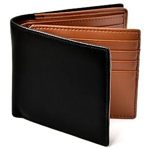 Le sourire 二つ折り 財布 本革 大容量 カード 18枚収納 新設計のボックス型小銭入れ メンズ (ブラック×ブラウン)