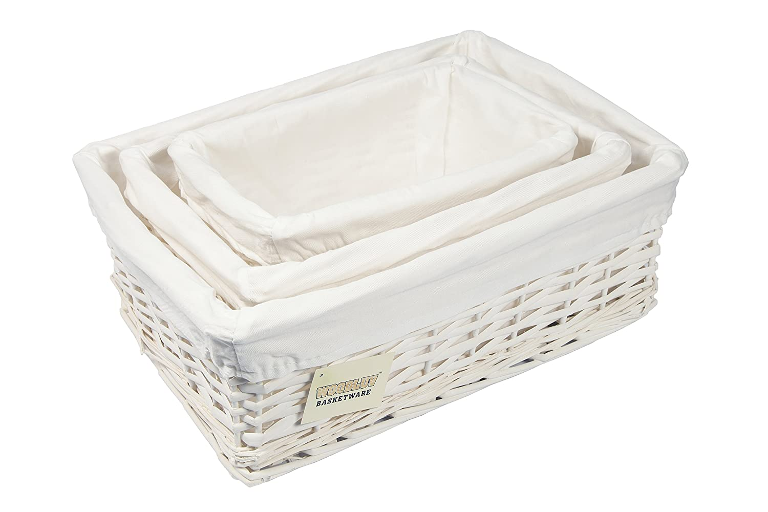 WoodLuv Set Of 3 White Wicker Storage Basket With Lining,: Amazon.co.uk:  Kitchen U0026 Home