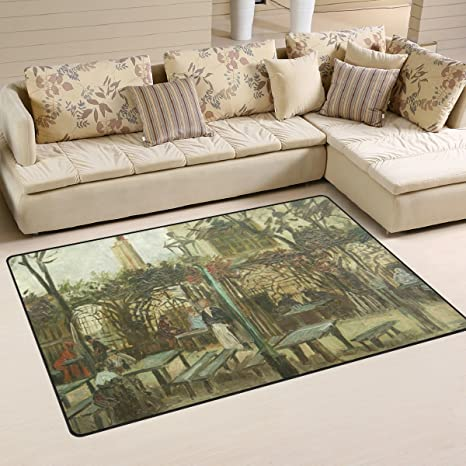 Amazon.com : FANTAZIO Area Rug van Gogh Gartenlokal Entry doormats on ideal kitchen flooring, best flooring for kitchen, vinyl floor tiles kitchen,