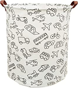 BOOHIT Cotton Fabric Storage Bin,Collapsible Laundry Basket-Waterproof Large Storage Baskets,Toy Organizer,Home Decor (Vehicle)