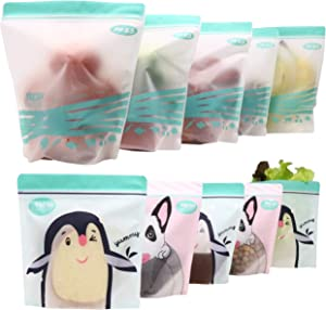 ACHub 10pc Stand-up Reusable Storage Bags (Reusable Sandwich bag, Reusable Snack bag, Reusable Produce Saver Ziplock Bag) - BPA Free, Freezer, Dishwasher, Microwave Safe (5 Lrg, 5 Sml)