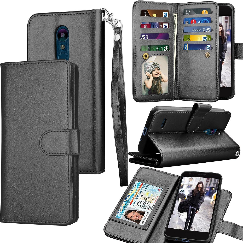 Tekcoo LG Tribute Dynasty/Empire Case, LG Aristo 2 / Arsito 3 Wallet Case, LG Zone 4/Fortune 2/Rebel 3 LTE PU Lether Purse, ID Cash Card Holder Carrying Folio Flip Cover [Detachable Case] -Black