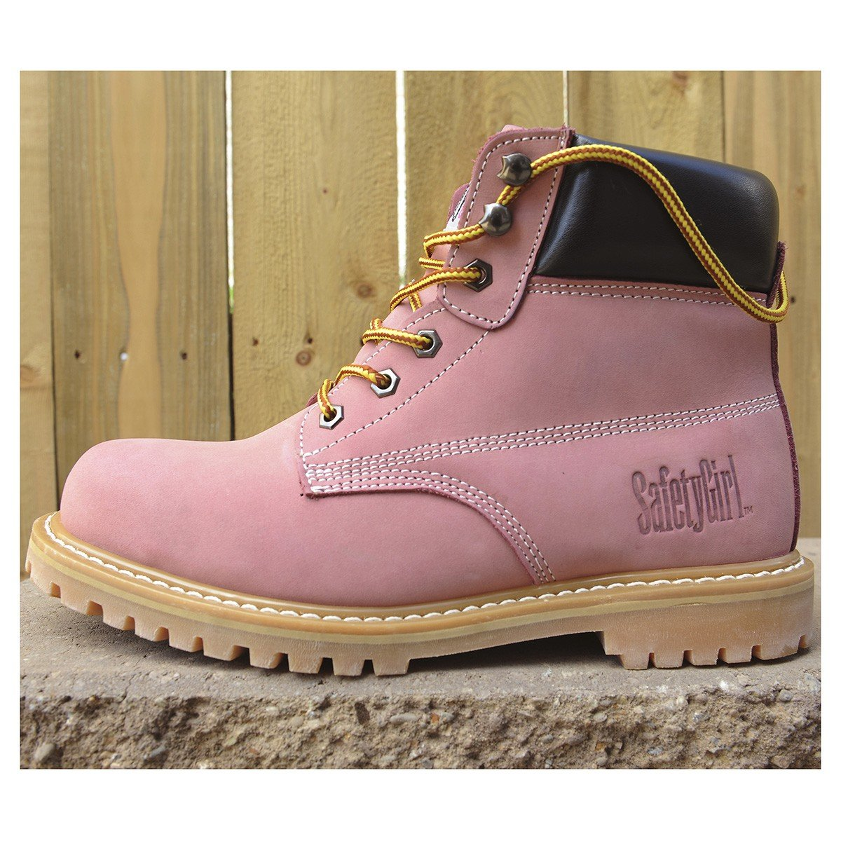 Safety Girl GS003-Lt Pink-9M Steel Toe Work Boots - Light Pink - 9M, English, Capacity, Volume, Leather, 9M, Pink () by Safety Girl (Image #7)