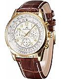 KS KS161 - Relojes de pulsera hombre dorado, mecánico automático reloje con correa de cuero marrón