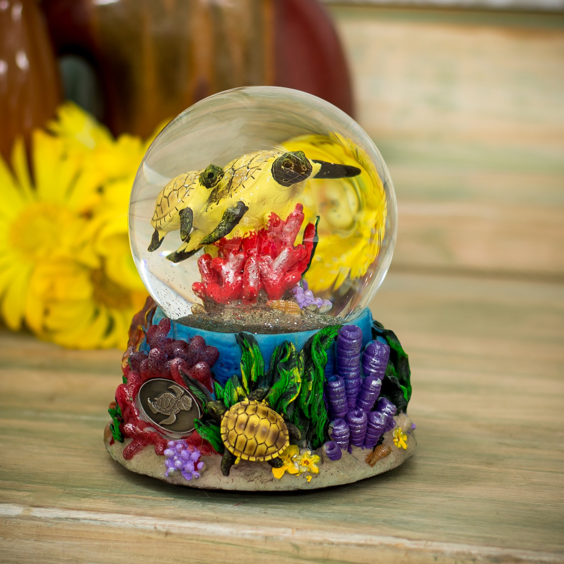 Turtles Underwater 100mm Resin Glitter Water Globe Plays Tune Somewhere Out There by Cadona International, Inc (Image #2)