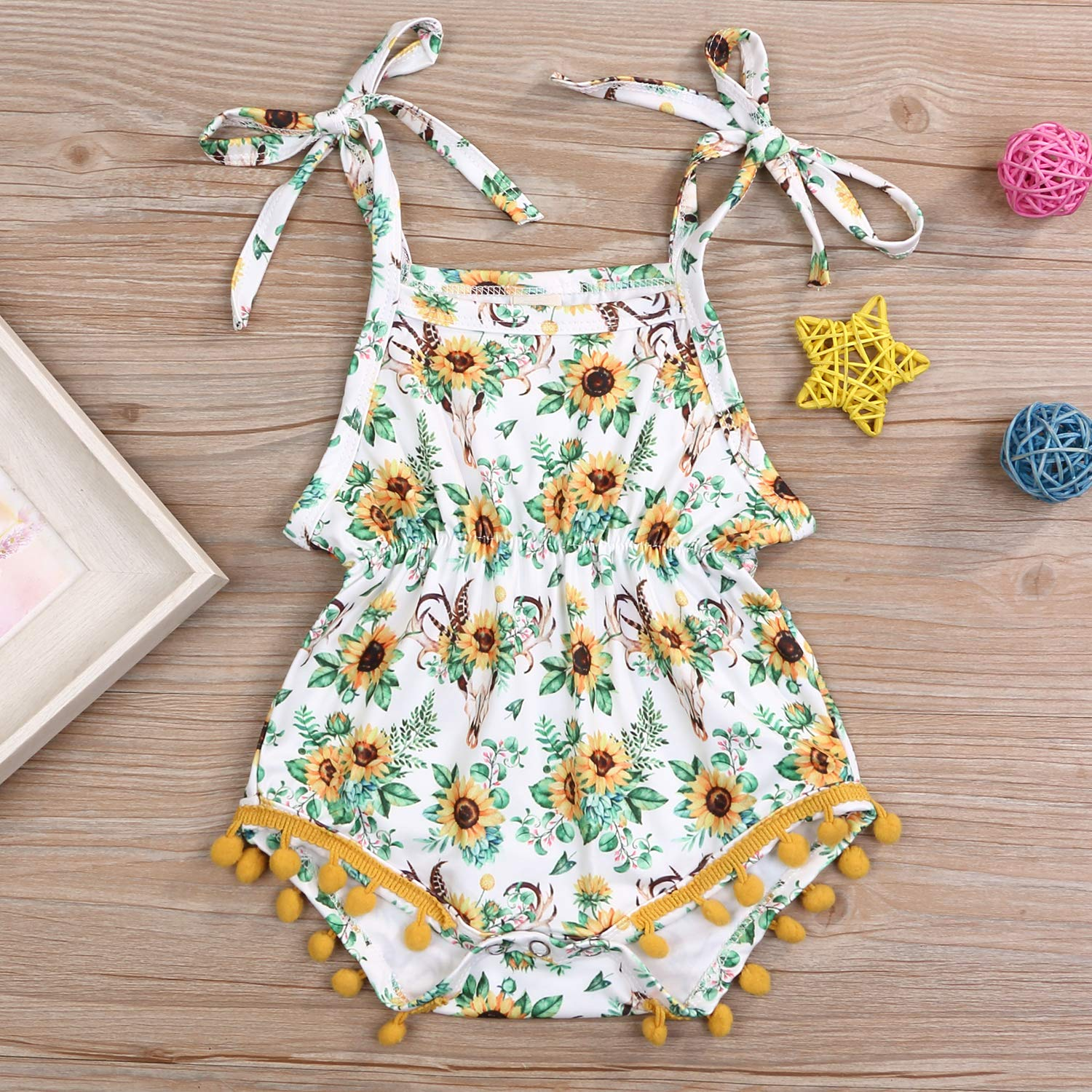 Newborn Baby Girl Floral Romper Strap Sunflower Jumpsuit Bodysuit Outfit Summer Clothes