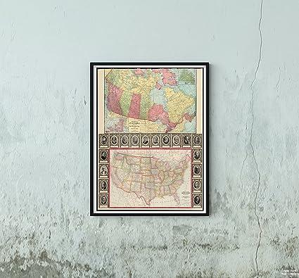 Amazon.com: New York Map Company (TM) 1913 Map Canada|United States ...