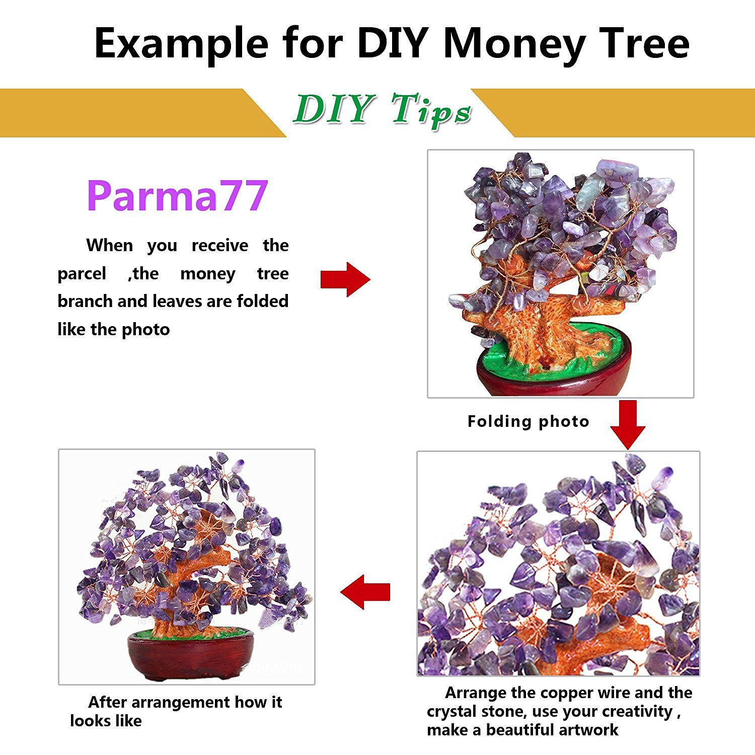 Parma77 Mart Feng Shui Natural Rose Quartz Crystal Money Wiring Wisteria Bonsai Tree Style Decoration For Wealth And Luck Home Kitchen