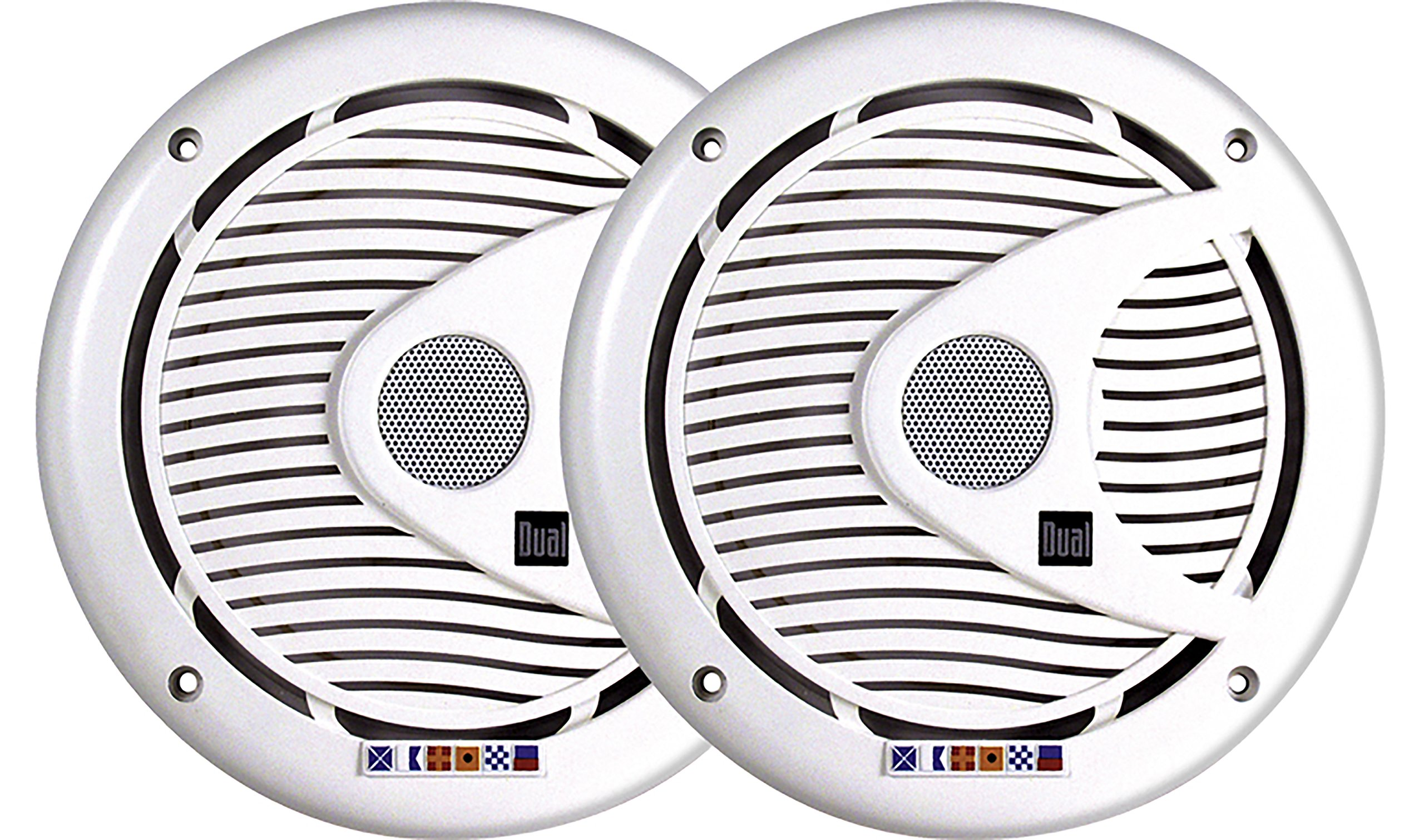 Dual Electronics DMS652 Two 6.5 inch 3-Way High Performance Marine Speakers with Silk Dome Tweeters and 175 Watts of Peak Power