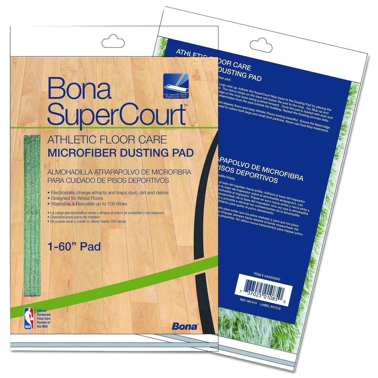 Bona AX0003500 Super Court Athletic Floor Care Microfiber Dusting Pad, 60'' Diameter, Green