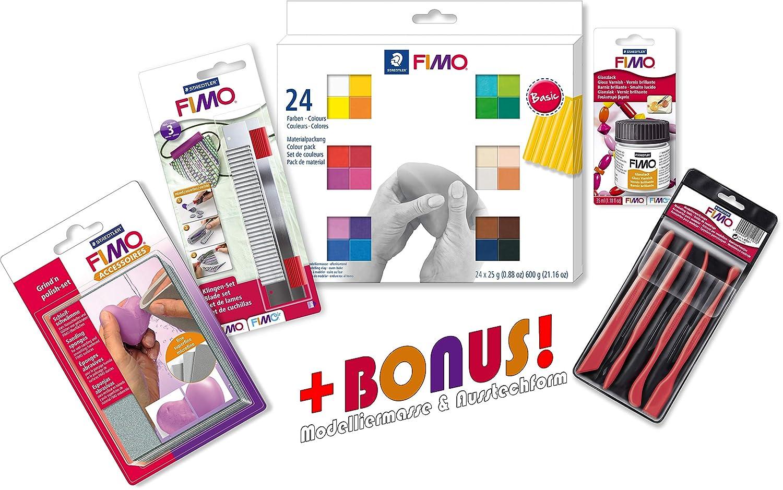Starter Modellierset Staedtler 8023 02 Fimo soft 24 Materialpackung  Werkzeuge, Glanzlack und exklusiver Bonus-Beigabe B018G8PQG0 | Tragen-wider