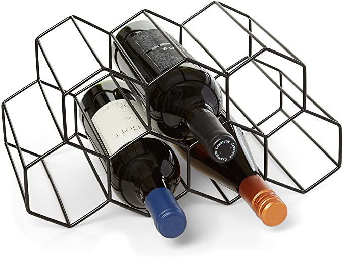 Countertop Wine Rack 9 Bottle Wine Holder For Wine Storage No Assembly Required Modern Black Metal Wine Rack Wine Racks Countertop Small Wine Rack Wine