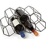 Countertop Wine Rack - 9 Bottle Wine Holder for Wine Storage - No Assembly Required - Modern Black Metal Wine Rack…