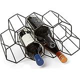 Countertop Wine Rack - 9 Bottle Wine Holder for Wine Storage - No Assembly Required - Modern Black Metal Wine Rack - Wine Rac