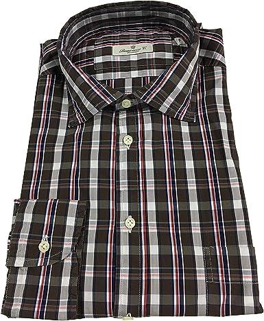 BRANCACCIO Camisa Hombre Manga Larga Cuadros Marrón oscuro 74% Algodón 20% Poliamida 6% elastómero (XL - 42-16 1/2): Amazon.es: Ropa y accesorios