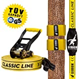 Gibbon Slacklines Classic Line with Tree Wear, yellow, 25 meters, beginner, beginners and beginners, including tree protection, ratchet protection and ratchet restraint, 50 mm wide, perfect leisure sport