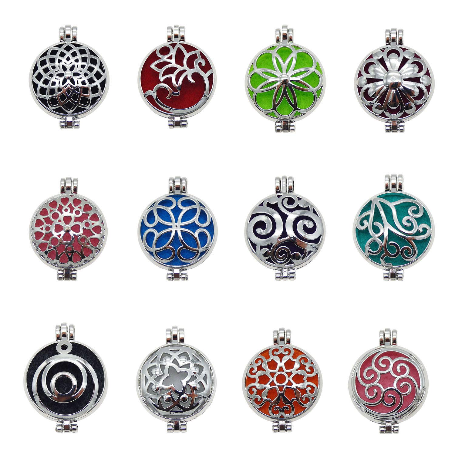 Julie Wang 24pcs Mixed Silver Locket for Aromatherapy Essential Oil Diffuser Pendant Necklace Diameter 1.3 inches
