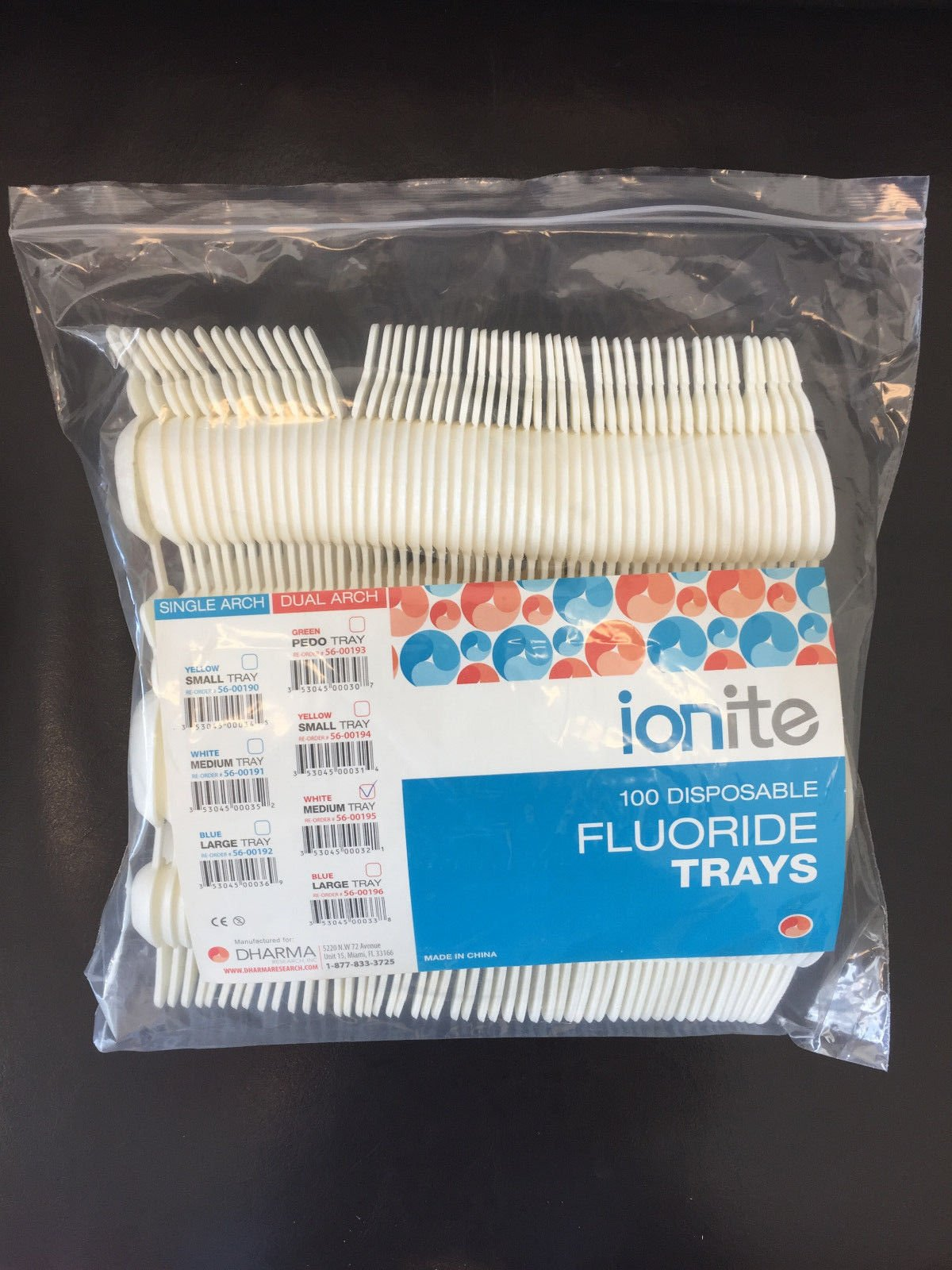Dental Disposable White Medium /100 Pcs Pack Fluoride Trays Dual Arch Ionite