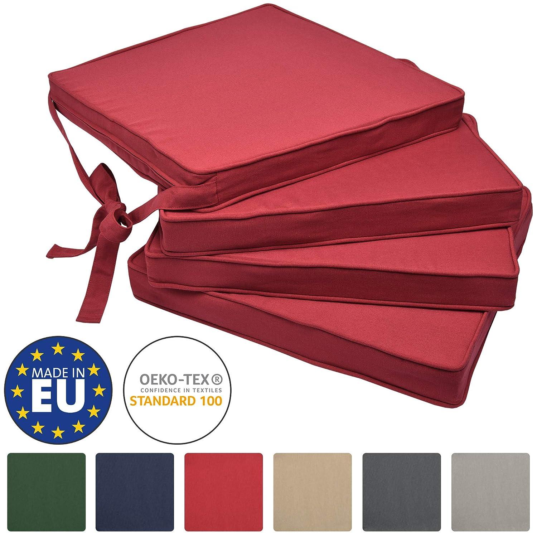 Beautissu Loft SK Set de 4 Cojines Almohadas para sillas Asientos 45x40x5 Rojo Elegantes y Modernos