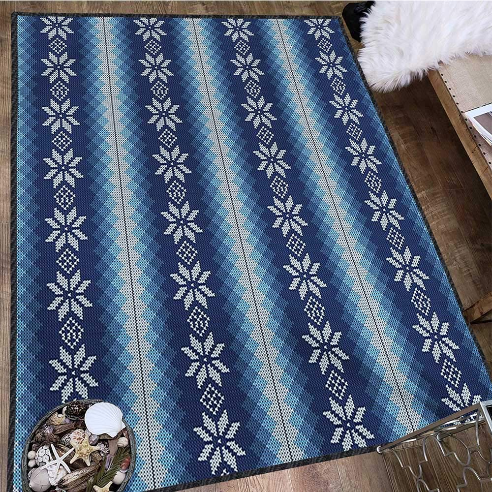Winter, Area Rug Bedroom, Traditional Scandinavian Needlework Inspired Pattern Jacquard Flakes Knitting Theme, Door Mat Increase 5x7 Ft Blue White by lacencn (Image #3)