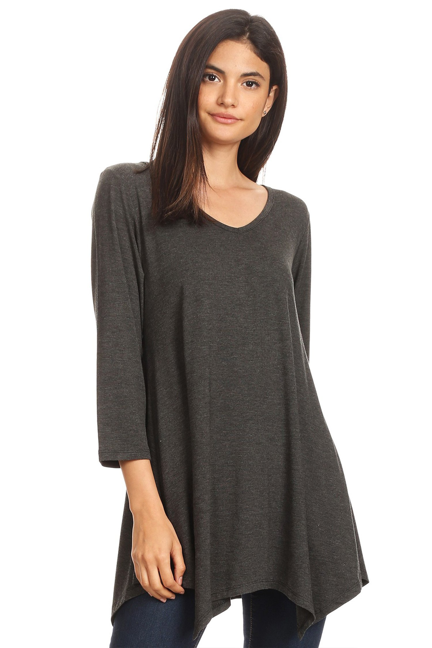 Womens V-Neck Long Sleeve Pleats Tunic Dress Top/Made In USA Charcoal XL