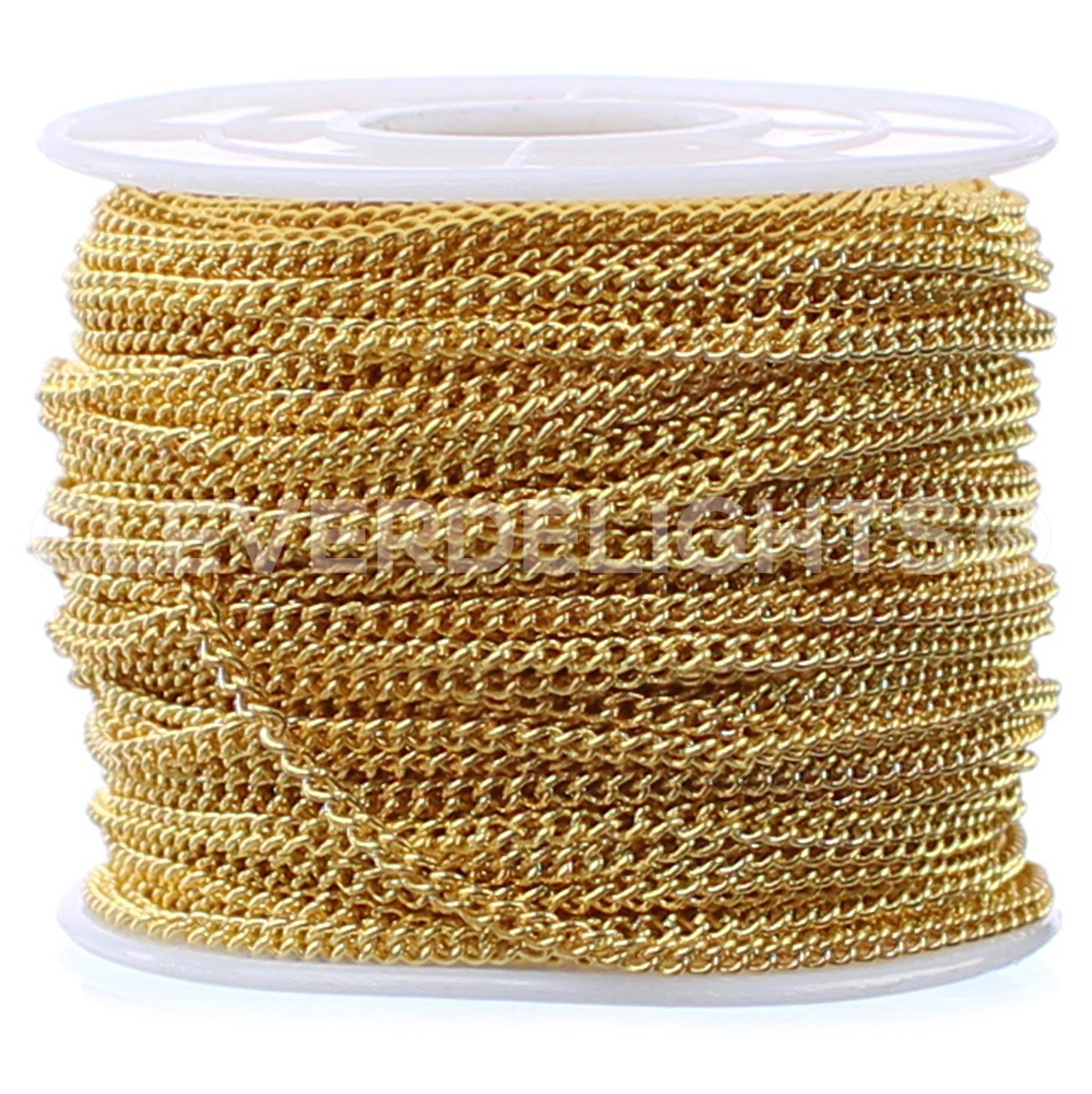 CleverDelights Curb Chain Spool - 2.2x3mm Link - Gold Color - 30 Feet - Bulk Jewelry Roll by CleverDelights (Image #1)