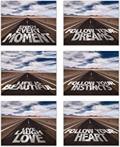 """Travel through Life with these Inspirational Signs: Life Thoughts and Motivation: Set of 6 (8""""x10"""" unframed) Poster Prints Wall Decor - Life Lessons and Motivation"""