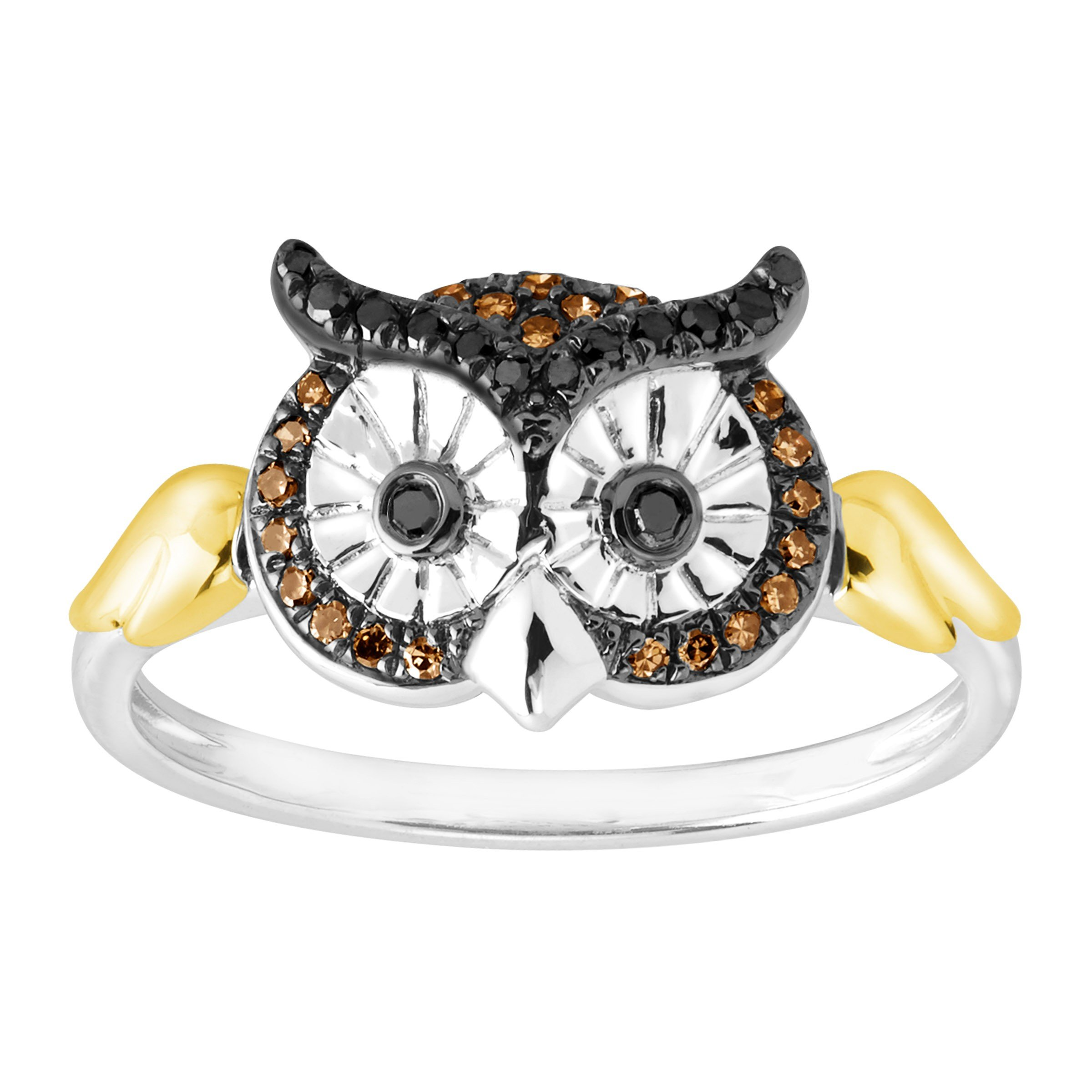 1/6 ct Black & Champagne Diamond Owl Ring in Sterling Silver and 10K Gold Size 7